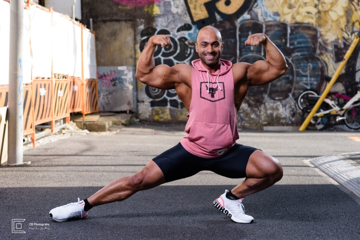 Bodybuilder pose during a photoshoot with Cristian Bucur Photographer in Tokyo.