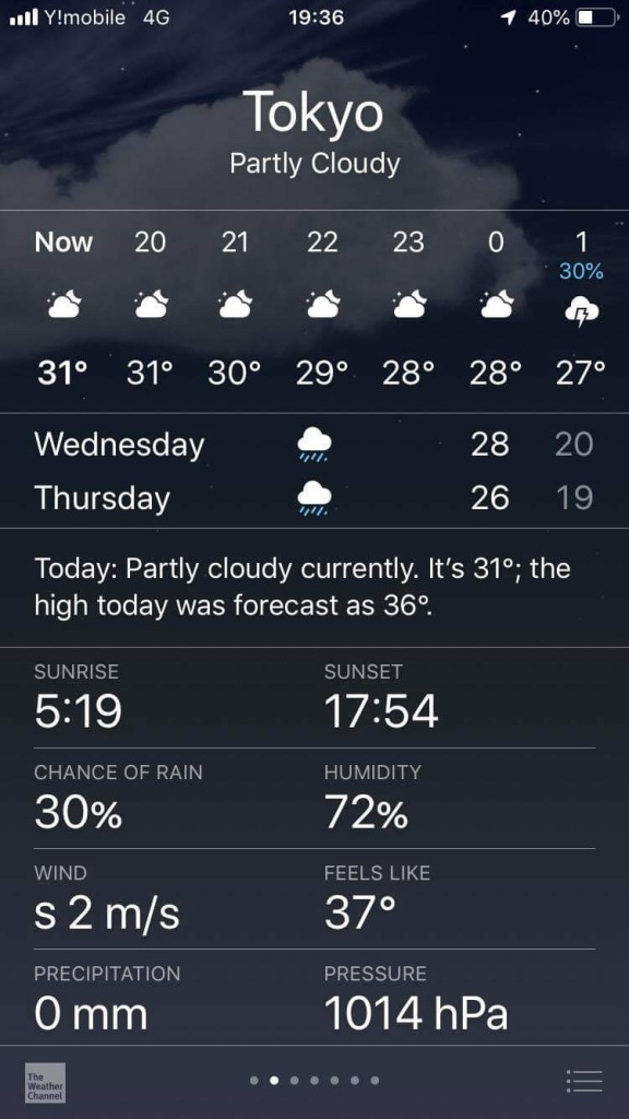 Phone print screen of the Apple Weather App for Tokyo on September 10th, 2019th