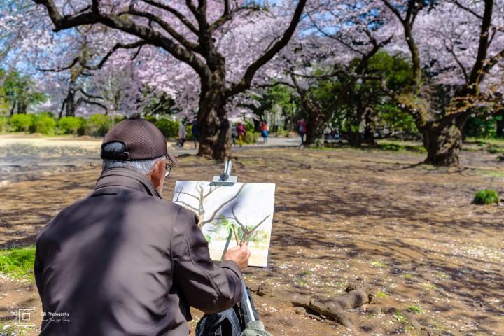Man painting in Shinjuku Gyoen National Park, Tokyo