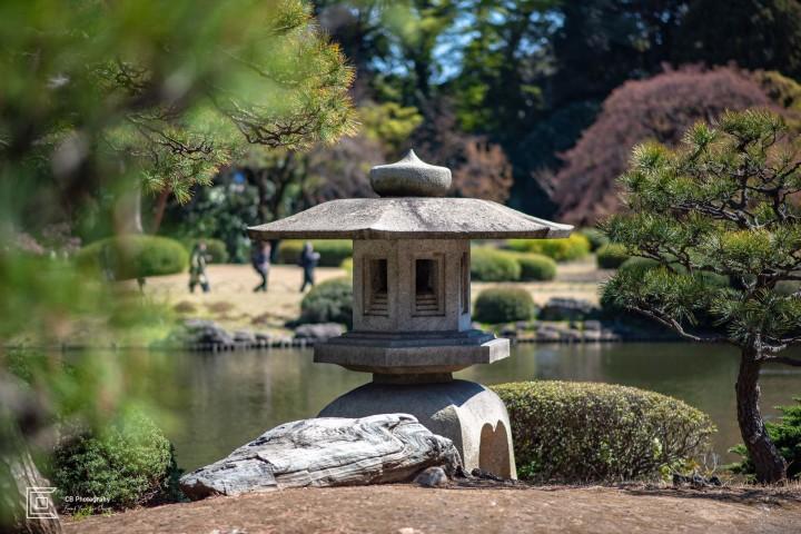 Japanese stone lantern in Shinjuku Gyeon National Park