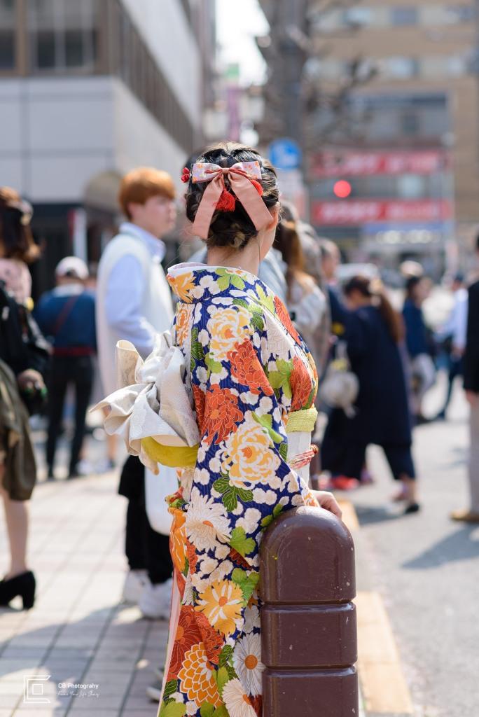 Young Lady wearing Kimono in Nakameguro, Tokyo, Japan