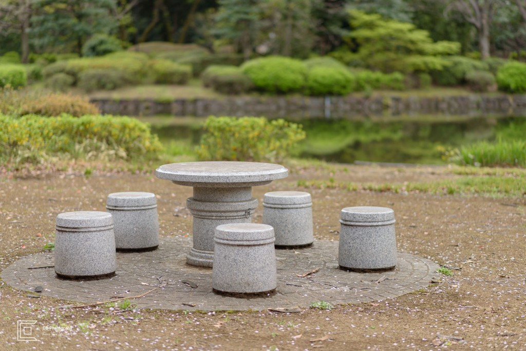 Round stone table with round chairs in Tokyo
