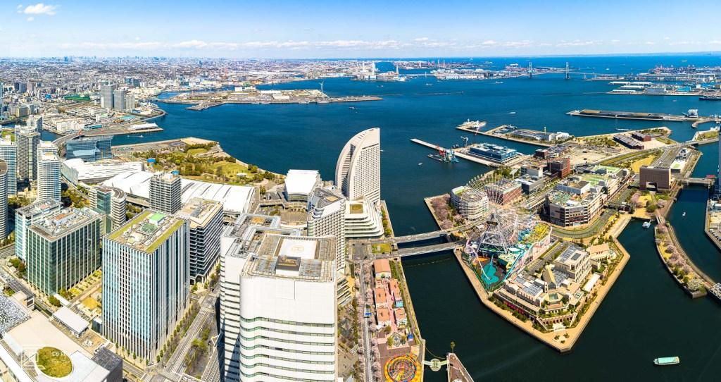 Yokohama Bay panoramic view from the top of the Landmark Tower.