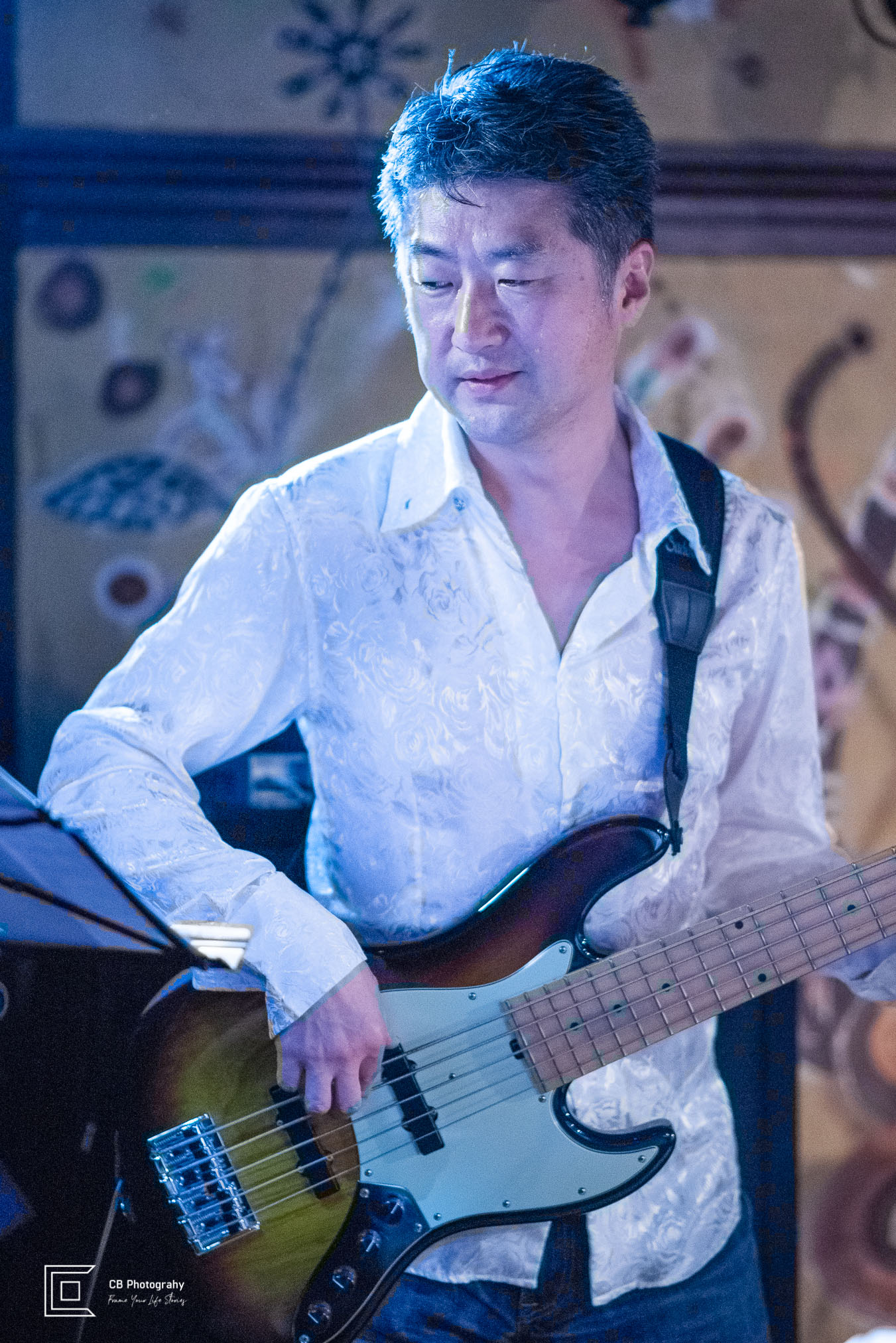 Bass playing during Catherine Forte music show
