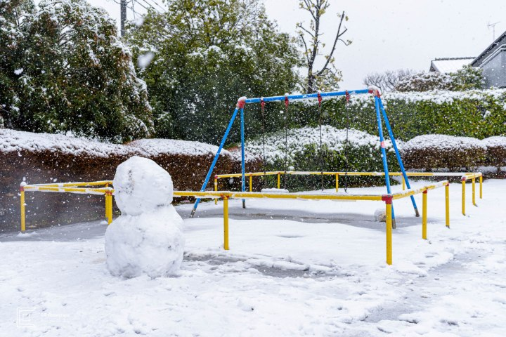 Snowman in a local small park in my neighborhood in Yokohama, March 2020