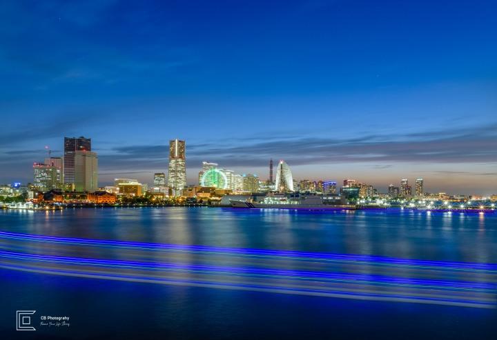 Blue hour cityscape over Yokohama skyline